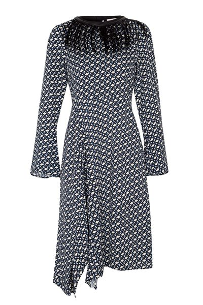 DOROTHEE SCHUMACHER GRAPHIC EMBRACE DRESS BLUE WHITE Was: £625.00 Now: £200.00