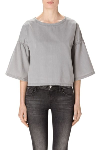 J BRAND DIANE SHORT SLEEVE TOP CINEREAL Was: £198.00 Now: £50.00