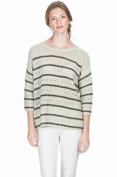 LILLA P YARN STRIPE KNIT NATURAL BLACK Was: £154.00 Now: £50.00