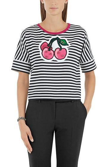MARC CAIN FRUIT PRINT STRIPE TOP 900 Was: £149.00 Now: £50.00