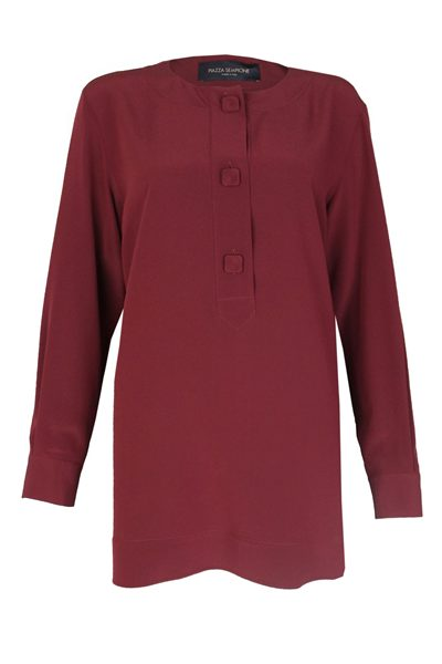 PIAZZA SEMPIONE BUTTON FRONT BLOUSE BURGUNDY 0274 Was: £415.00 Now: £100.00