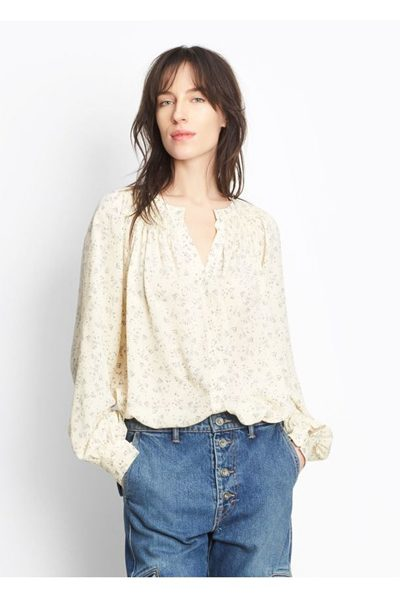VINCE FLORAL SILK SMOCK BLOUSE SHEEPSKIN Was: £300.00 Now: £75.00