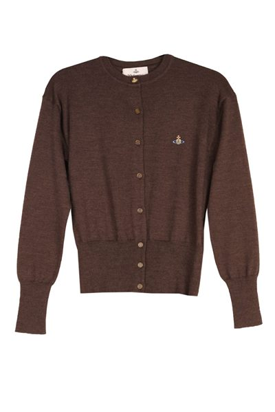 VIVIENNE WESTWOOD BUTTON DOWN CARDIGAN BROWN Was: £235.00 Now: £50.00