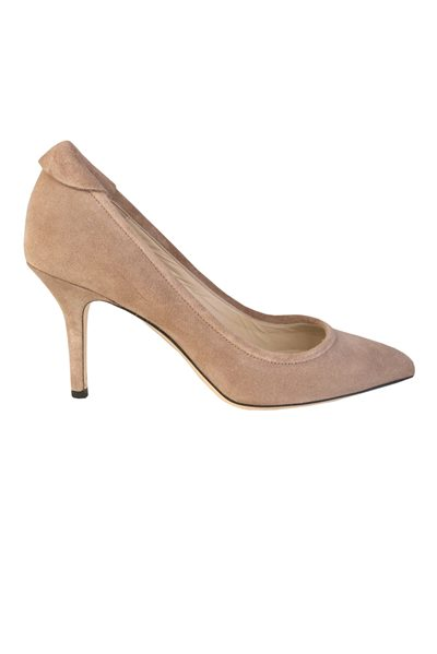 YVONNE KONE Classic Heeled Leather Pump SUEDE CEMENT Was: £345.00 Now: £100.00