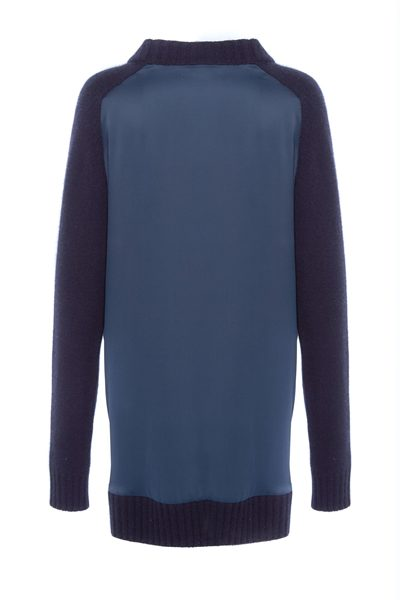AMANDA WAKELEY LONG SLEEVE SILK BACK CARDIGAN MIDNIGHT Was: £495.00 Now: £371.00