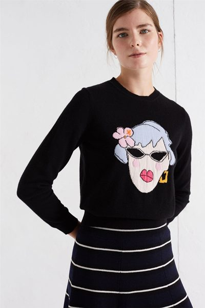 CHINTI & PARKER MAUD CROPPED SWEATER BLACK Was: £350.00 Now: £175.00