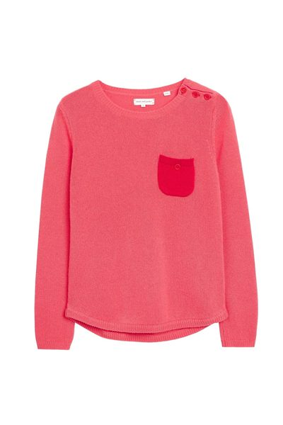 CHINTI & PARKER ONE POCKET CASHMERE SWEATER CORAL CHERRY