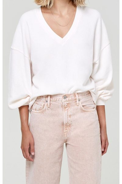 CITIZENS OF HUMANITY VIVIENNE V-NECK SHIRTTAIL SWEATER CREAM PINK £180.00