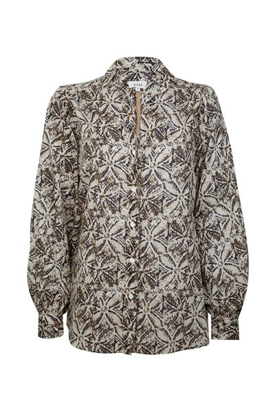 DIEGA PRINTED COTTON BLOUSE BROWN Was: £165.00 Now: £85.00