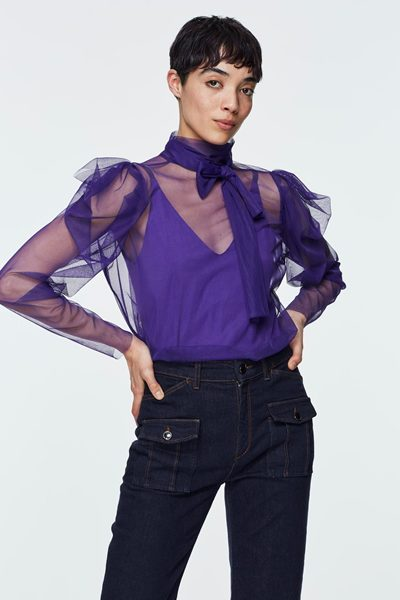 DOROTHEE SCHUMACHER DRAMATIC TRANSPERENCY BLOUSE DEEP VIOLET Was: £184.00 Now: £92.00