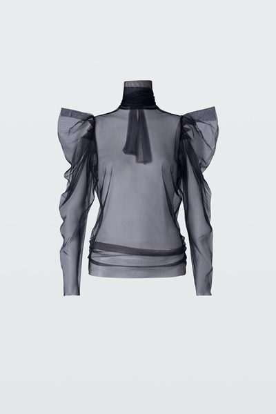 DOROTHEE SCHUMACHER DRAMATIC TRANSPERENCY BLOUSE TRUE NAVY Was: £184.00 Now: £92.00