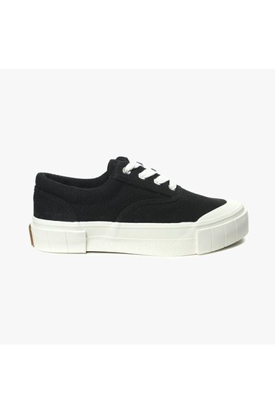 GOOD NEWS OPAL BLACK ORGANIC CANVAS SNEAKERS BLACK Was: £110.00 Now: £55.00