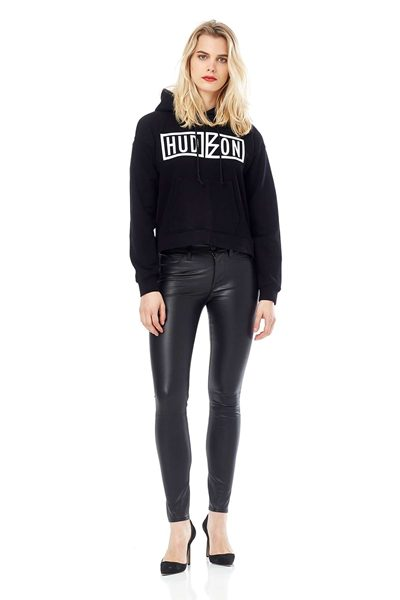 HUDSON BARBARA HIGH WAIST LEATHER SUPER SKINNY JEANS BLACK Was: £885.00 Now: £443.00