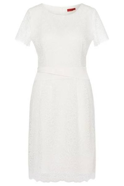 HUGO BY HUGO BOSS KALILA LACE DRESS NATURAL Was: £270.00 Now: £135.00