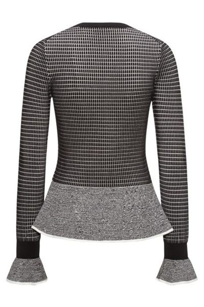 HUGO BY HUGO BOSS PEPLUM HEM KNITTED SWEATER OPEN Was: £149.00 Now: £74.00