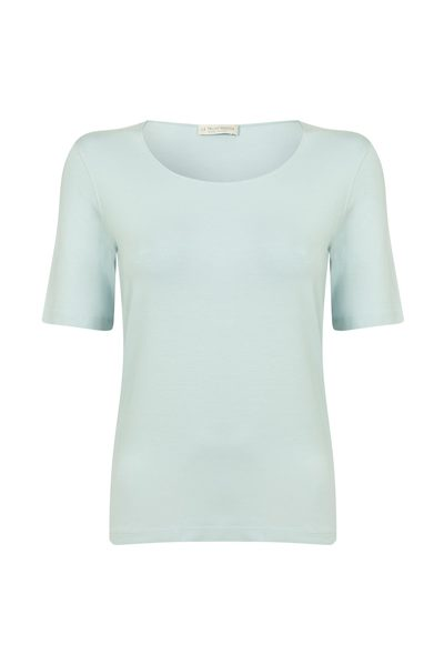 LE TRICOT PERUGIA Round Neck T Shirt BABY BLUE £99.00