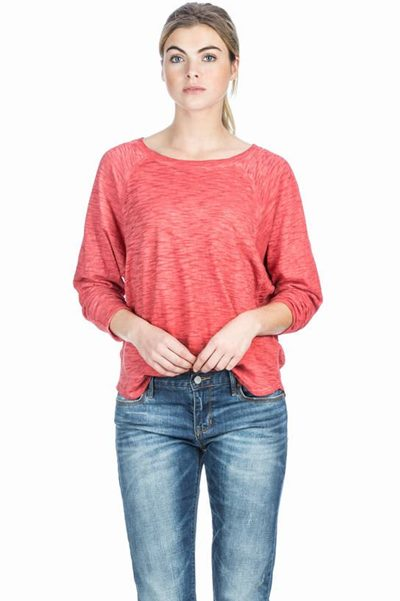 LILLA P LONG SLEEVE BOATNECK TOP RED Was: £110.00 Now: £50.00