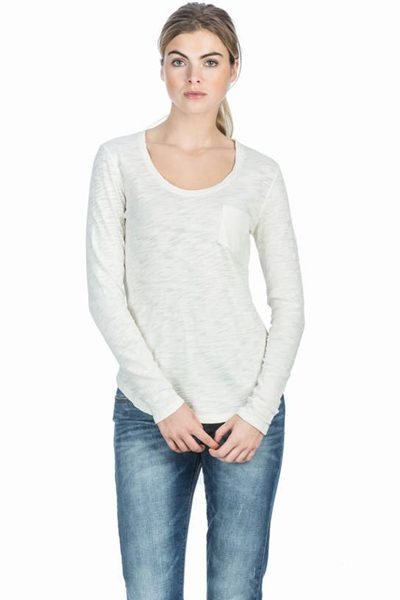 LILLA P SCOOP NECK LONG SLEEVE TOP ANTIQUE Was: £100.00 Now: £50.00