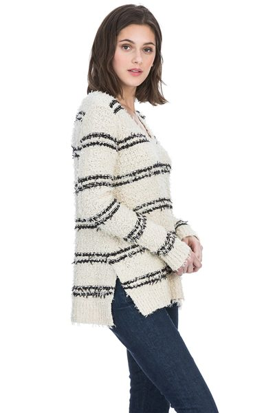 LILLA P SIDE SLIT V KNIT OAT STRIPE Was: £149.00 Now: £50.00