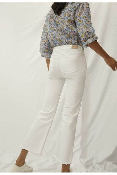 M.i.h JEANS LOU HIGH RISE CROPPED BELL BOTTOM WHITE Was: £235.00 Now: £90.00