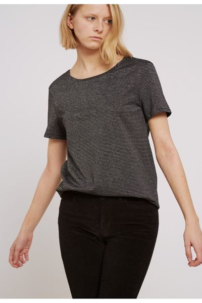 M.i.h JEANS NORA SHORT SLEEVE TEE BLACK SILVER Was: £75.00 Now: £38.00