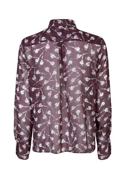 MARC CAIN BIRD PRINT PUSSYBOW BLOUSE WINE Was: £215.00 Now: £107.00
