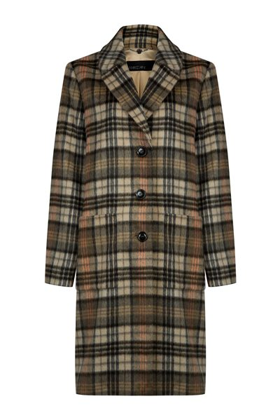 MARC CAIN Camel peach check coat CAMEL Was: £395.00 Now: £197.00