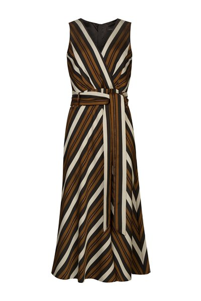 MARC CAIN Dress with Lurex Stripes BROWN