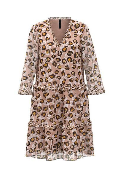 MARC CAIN Flounce dress with leopard pattern NUDE £219.00