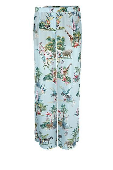 MARC CAIN PRINTED SILK TROUSER BLUE Was: £225.00 Now: £112.00