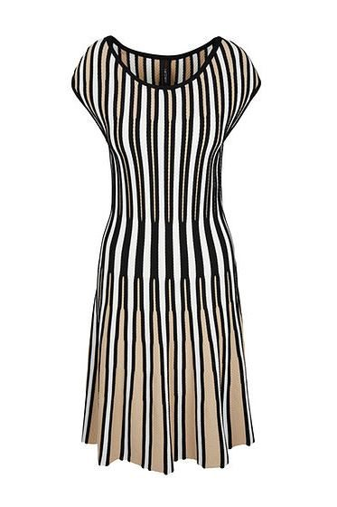 MARC CAIN STRETCH STRIPE DRESS TAN MULTI Was: £345.00 Now: £172.00