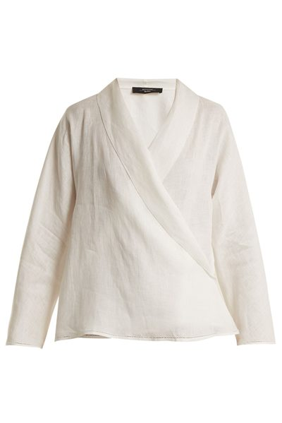 MAX MARA WEEKEND GERUSIA WRAP LINEN BLOUSE WHITE Was: £192.00 Now: £90.00