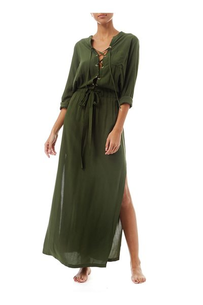 MELISSA ODABASH MEGHAN LACE UP LONG DRESS KHAKI Was: £290.00 Now: £90.00