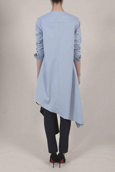 PALMER / HARDING ASYMMETRIC WRAP SHIRT BLUE STRIPE Was: £290.00 Now: £100.00