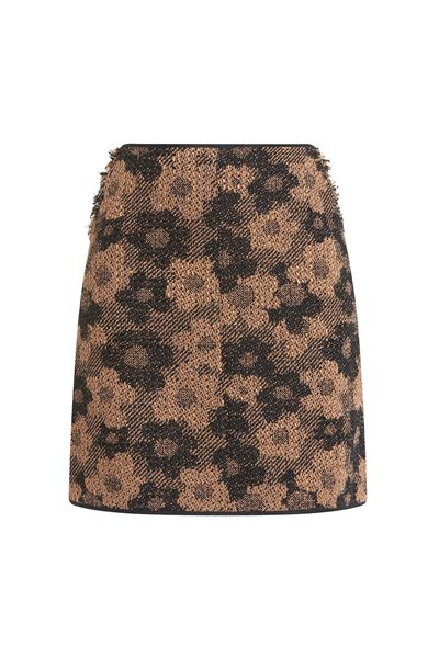 PAULE KA A-LINE SKIRT IN FLORAL TWEED CARAMEL Was: £297.00 Now: £50.00