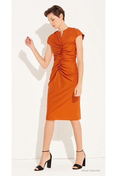 PAULE KA RUCHED ORANGE DRESS ORANGE Was: £442.00 Now: £221.00