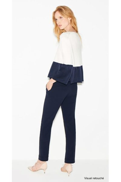 PAULE KA SATIN CREPE TROUSER NAVY Was: £288.00 Now: £144.00