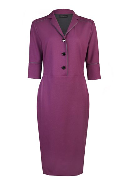 PIAZZA SEMPIONE Contrast Piping Pencil Dress PURPLE