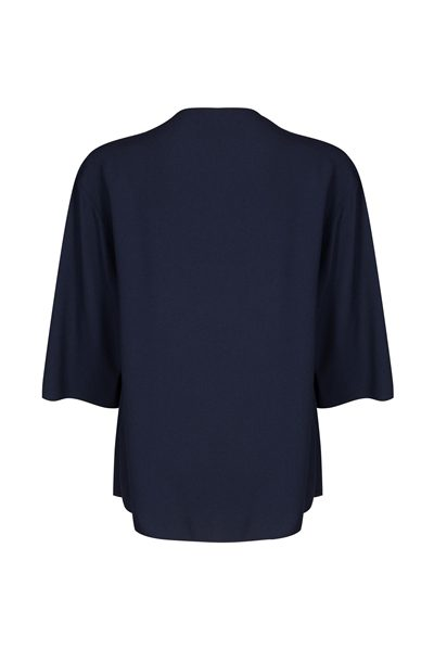 PIAZZA SEMPIONE NAVY BOAT NECK BLOUSE BLUE Was: £272.00 Now: £136.00