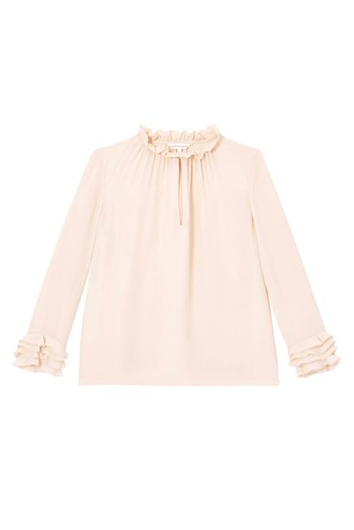 REBECCA TAYLOR DOUBLE GEORGETTE RUFFLE TOP BALLET Was: £260.00 Now: £130.00