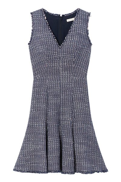 REBECCA TAYLOR MULTI TWEED V NECK DRESS NAVY Was: £404.00 Now: £202.00
