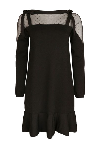 RED VALENTINO LACE SHOULDER DRESS NERO Was: £465.00 Now: £232.00