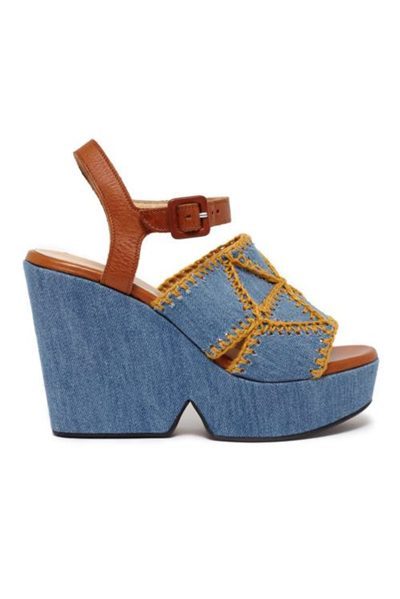 ROBERT CLERGERIE DOCHET PEEP TOE DENIM Was: £430.00 Now: £99.00