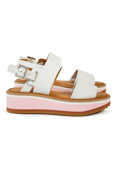 ROBERT CLERGERIE FLEUR LEATHER SANDALS WHITE Was: £390.00 Now: £195.00