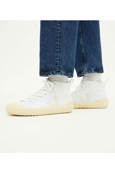 VEJA NOVA HIGH TOP CANVAS IN WHITE BUTTER-SOLE WHITE BUTTER Was: £85.00 Now: £45.00