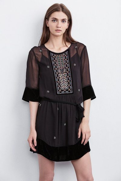 VELVET EMBROIDERED DRESS BLACK Was: £275.00 Now: £50.00