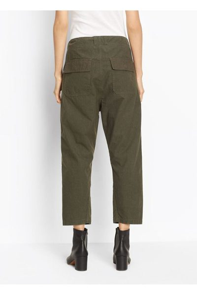 VINCE DRAWSTRING UTILITY CROP TROUSER OLIVE WASH Was: £338.00 Now: £169.00