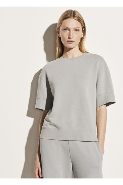 VINCE Garment Washed French Terry Elbow Sleeve Pullover FOG £168.00
