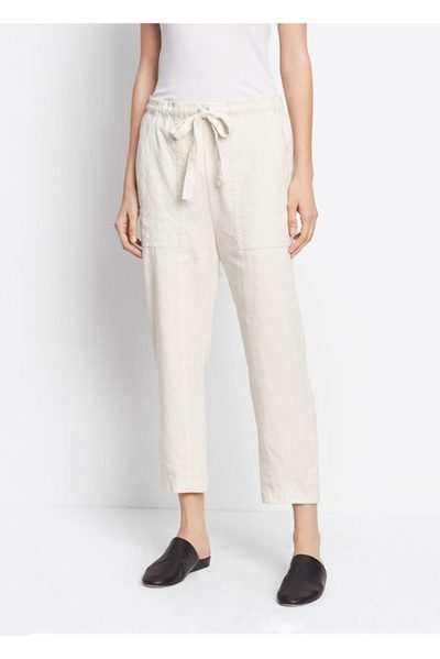 VINCE LINEN PAPERBAG WAIST PANT VANILLA Was: £310.00 Now: £155.00