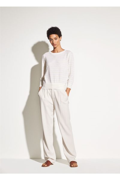 VINCE TIE BACK CASHMERE TOP WHITE Was: £260.00 Now: £130.00